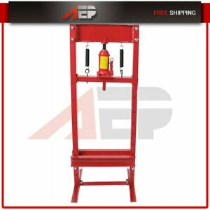 12 Ton H Frame Shop Press Hydraulic Jack Stand Plates Equipment Bench Top Mount