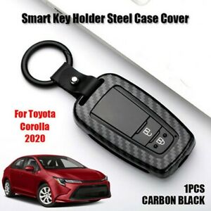 For Toyota Corolla 19 Carbon Fiber Abs Shell Car Smart Key Fob Cover Case Chain