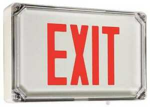 Hubbell Lighting Dual lite Sewlsrwe Nema 4x Aluminum Red white Exit Sign One