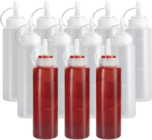 8 Oz Ketchup Squeeze Bottles Plastic Condiment Dressings Kitchen Dining 12 Pack