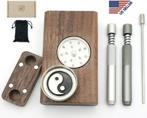 Wood Dugout Stash Box With Grinder 2 Self Cleaning One Hitter Metal Bat Pipe
