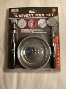 3 Pc Magnetic Tool Set Pick Up Parts Tray Telescoping Inspection Mirror Holder