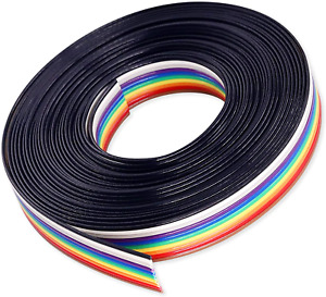 Idc Rainbow Color Flat Ribbon Cable 10 Wire 15ft