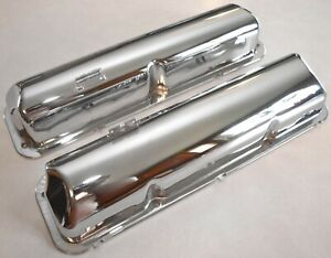 1960 1964 Ford Galaxie Chrome Baldy Valve Covers 390 406 427 1961 1962 1963