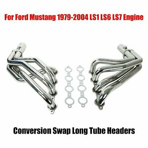 Ls1 Ls6 Ls7 Engine Conversion Swap Long Tube Headers For Ford Mustang 1979 2004
