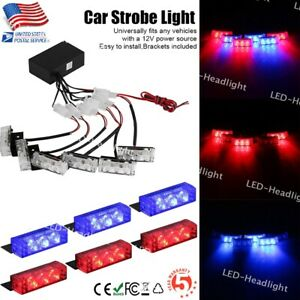 Car 6x3 Led Red blue Police Strobe Flash Light Dash Emergency Warning Lamp Kit