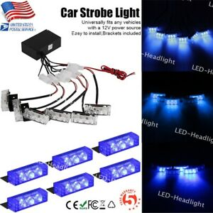 4in1 Car 6x 3 Led Blue Strobe Flash Light Dash Emergency Warning Police Lamp Set
