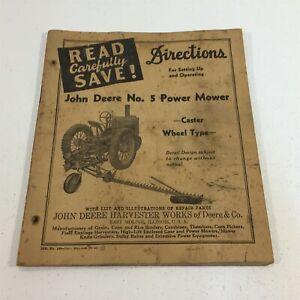 John Deere No 5 Power Mower Directions For Attaching And Operation 180 4 43