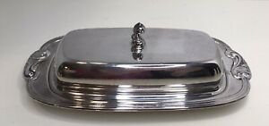Vintge Wm A Rogers Silverplated Covered Butter Dish No Glass Insert