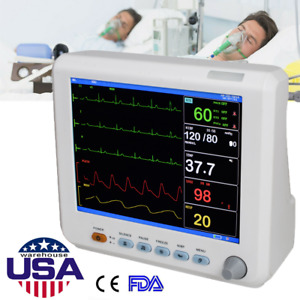 Medical 8 Patient Monitor Vital Signs Spo2 pr nibp ecg resp temp 6paras Meter
