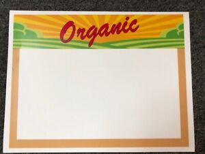 Quality Produce Price Cards display Case shelf Signs Tags 50pc Organic