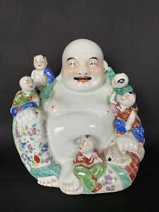 Antique Chinese Porcelain Famille Rose Buddha Statue 7 6 8 19th 20th