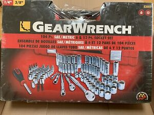 Gearwrench 83002 104 Pc 1 4 3 8 Dr 6 12 pt Sae metric Socket Set New