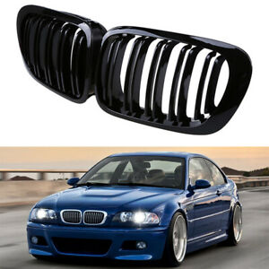 For Bmw E46 Coupe M3 325ci 1999 2006 Gloss Black Dual Slat Kidney Grille Grill