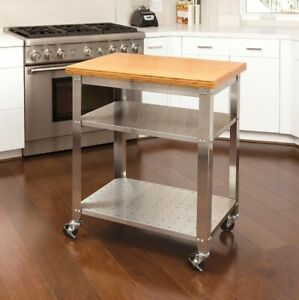 Work Prep Table W Bamboo Top Stainless Steel Kitchen Food Restaurant Commercial