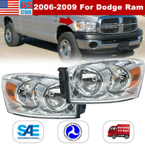 2006 2009 For Dodge Ram Clear Aftermarket Replacement Headlights Headlamps