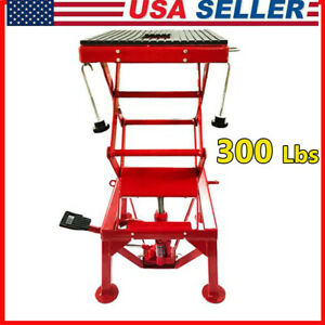 Motorcycle Center Scissor Lift Jack Hoist Stand Atv Dirt Bikes Lift Table 300lbs