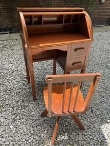 Antique Paris Mfg Co No 509 Childs Roll Top Desk Chair Included