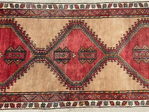 3x10 Antique Runner Rug Wool Hand Knotted Vintage Handmade Geometric Tribal 3x9