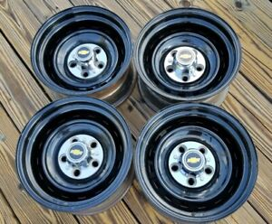 Set 4 1967 72 87 Chevy Gmc Truck 5 Lug 15 X 8 Gm Rally Wheels Rims Caps Black