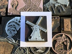 Antique Vtg Wood Metal Windmill Letterpress Print Type Cut Ornament Block