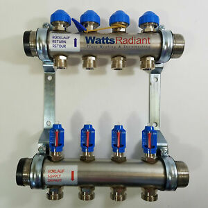 Watts Radiant Heat M4 Stainless Steel Manifold Flowmaster 1 5 New D3807604ss