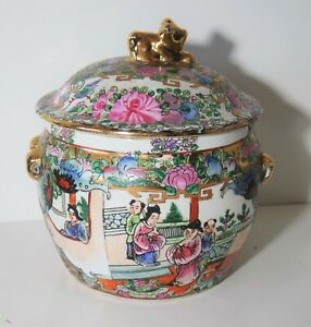 Vintage Chinese Famille Rose Gold Gilt Jar With Lid Marked