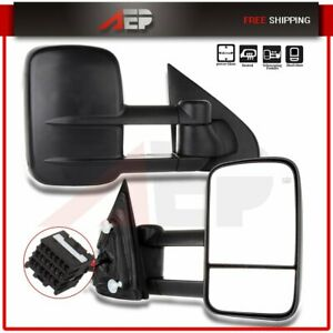 Power Heated Side Mirrors Towing Mirrors For 2014 18 Silverado Sierra Truck Pair