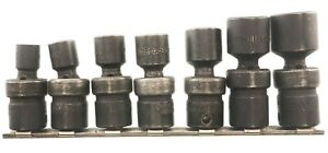 Snap On 7 piece 3 8 Drive 6 point Universal Swivel Sockets 3 8 3 4 Standard