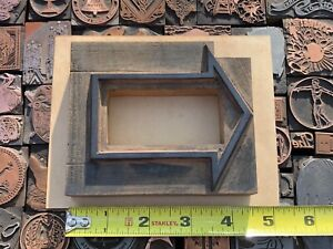 Large Antique Vtg Wood Arrow Border Letterpress Print Type Cut Ornament Block