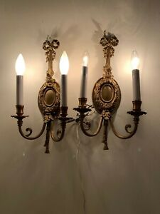 Pair Of Vintage Brass 2 Lights Arm Electric Wall Sconces