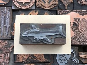 Vintage Wood Metal Airplane Letterpress Print Type Cut Ornament Block