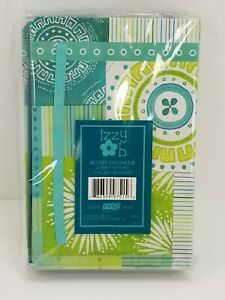 Izzy B Small 5 Pocket Receipt Organizer 40 Sheet Note Pad blue green white