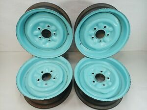 Vintage Chevy Steel Wheel Rims 14 X 6 Set Of 4 Used On A 57 Bel Air