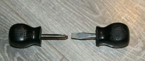 Lot Of 2 Snap On Black Handle Stubby 1 Screwdrivers