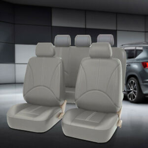 Gray Universal Pu Leather Car Seat Covers Protector Cushion 5 Seats Suv Full Set