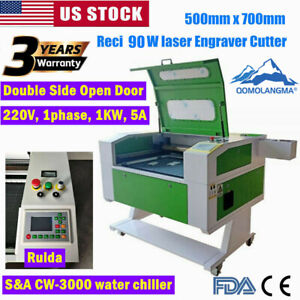500mmx700mm Reci 90w Co2 Laser Engraver Cutter With Double Side Open Door