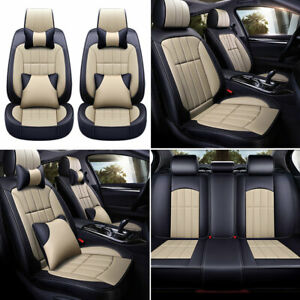 Beige Black Pu Leather Car Seat Cover Protector Universal 5 Sits Suv Full Set Us