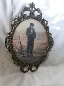 Stunning Vintage Ornate Oval Brass Frame Picture W Concave Glass Farmer Praying