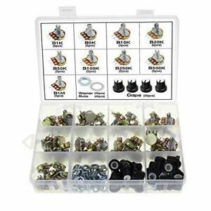 Ocr 45pcs Single Linear Potentiometer With Cap Nuts And Washer Assortment Kit