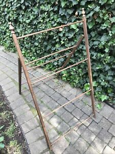 Vtg Wood Lingerie Clothes Herbs Drying Rack A Frame Folding Ladder Style 24x47t