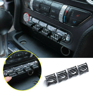 For 2015 2020 Ford Mustang Carbon Fiber Dashboard Navigation Switch Cover Trim