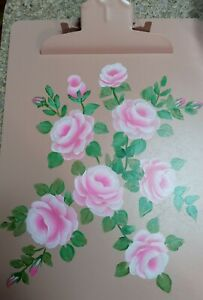 Hand Painted Shabby Chic Clip Board Pink Rose