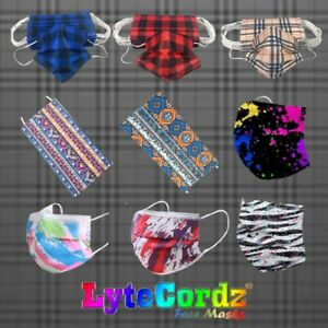 Disposable Surgical 3 Ply Surgical Face Mask Plaid Buffalo Paisley Paint Pattern