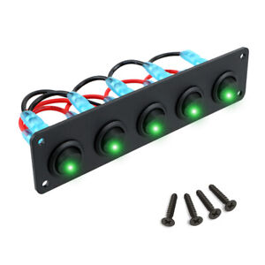 Car 5 Gang 3 Pin Rocker Switch Panel Toggle Switches On Off Dc 12v 20a Green Led