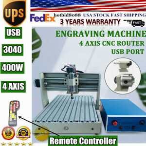 Usb 4 Axis Cnc Router 3040 Engraver 400w Pcb Wood Cutting Mill Drill Machine rc
