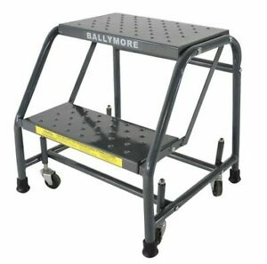 Ballymore 218psu 19 In H Steel Rolling Ladder 2 Steps 450 Lb Load Capacity