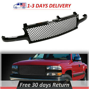 Mesh Front Hood Grill Grille Fits 99 06 Chevy Suburban 1500 Tahoe Gloss Black