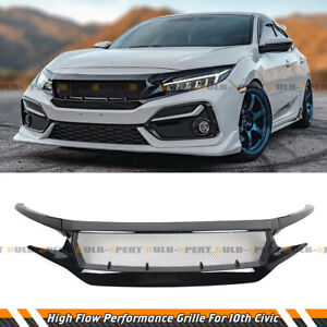 For 16 21 Honda Civic 10th Glossy Black High Flow Performance Front Grille Grill