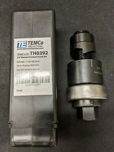 Temco 3 4 Conduit Hole Size Knockout Punch W Manual Draw Stud Used 10 Off